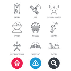 Achievement and search magnifier signs. Worker, minerals and engineering helm icons. GPS satellite, electricity station and factory linear signs. Telecommunication, battery icons. Vector