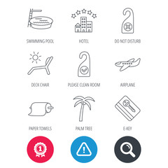 Achievement and search magnifier signs. Hotel, swimming pool and beach deck chair icons. E-key, do not disturb and clean room linear signs. Paper towels, palm tree and airplane icons. Vector