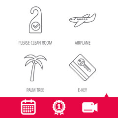 Achievement and video cam signs. Palm tree, air-plane and e-key icons. Clean room linear sign. Calendar icon. Vector