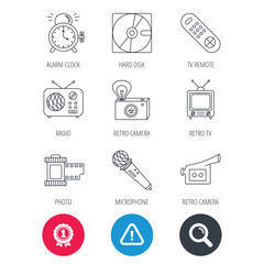 Achievement and search magnifier signs. Microphone, video camera and photo icons. Alarm clock, retro radio and TV remote linear signs. Hazard attention icon. Vector