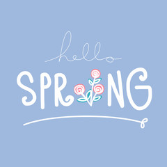 Hello spring word lettering illustration on blue background