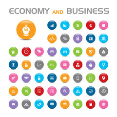 50 Economy and business bubble icons on white background