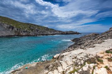 Amazing Panorama of Limnionas beach bay at Zakynthos island, Greece