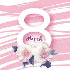 Peony Flowers. 8 March Greeting card. Happy Women's Day.