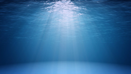 Blue ocean surface seen from underwater