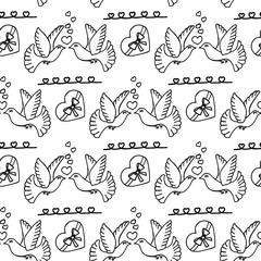 Unusual Hand Drawing Doodled Pattern with Carrier Pigeon.
