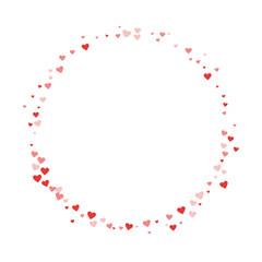 Red hearts confetti. Round shape on white valentine background. Vector illustration.