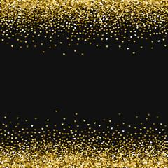 Golden glitter made of hearts. Borders on black valentine background. Vector illustration.