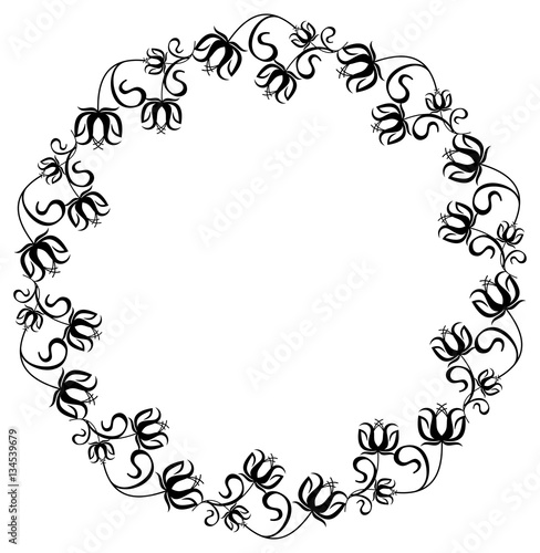 Black and white frame with flowers silhouettes. \