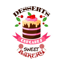 Dessert cake or tart vector icon or emblem