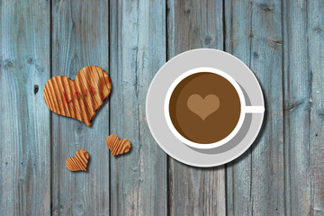 coffee cup with heart shape on wooden background