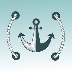 Anchor nautical symbol vector badge.