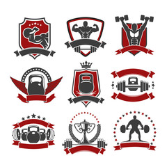 Weightlifting, powerlifting gym sport club icons