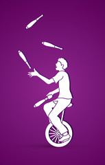 A man juggling pins while cycling graphic vector.