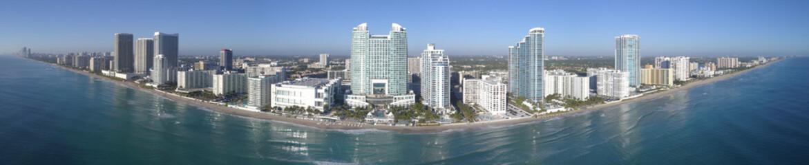 Aerial panorama of Hollywood Beach FL