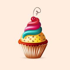 Realistic isolated sweet cupcake. eps10