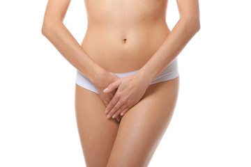 Close up view of young woman on white background. Gynecology concept