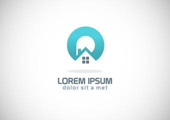 round home icon vector logo
