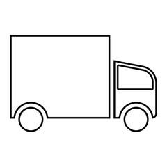 Truck icon - Flat design, glyph style icon - Outline black