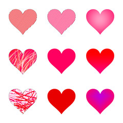 A collection of isolated valentine hearts.