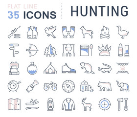 Set Vector Flat Line Icons Hunting
