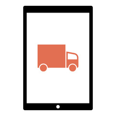 Truck icon - Flat design, glyph style icon - Colored enclosed in a tablet