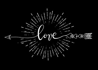 Vector illustration of typography word sign LOVE, arrow isolated