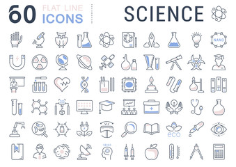 Set Vector Flat Line Icons Science