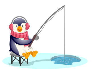 Cute Penguin Earmuffs Fishing