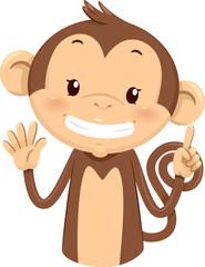 Mascot Monkey Count Six 6
