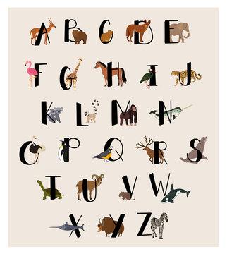 Cute animal alphabet set for kids