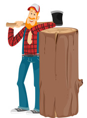 Man Lumberjack Axe Log