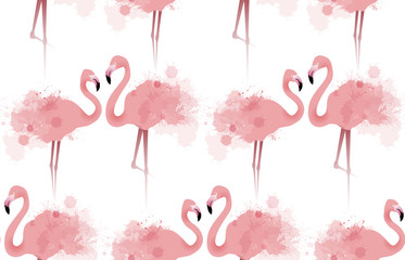 Seamless texture with delicate pink flamingos with watercolor splashes. Vector background fabric, wallpaper, background for your site and your creativity