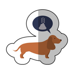 colorful image middle shadow sticker with dachshund dog thinkin poop vector illustration