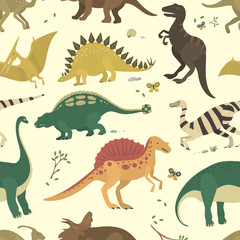 Dinosaur vintage color seamless pattern vector.
