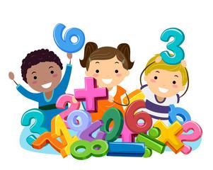 Stickman Kids Math Numbers Symbols