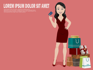 shopping woman on pink background