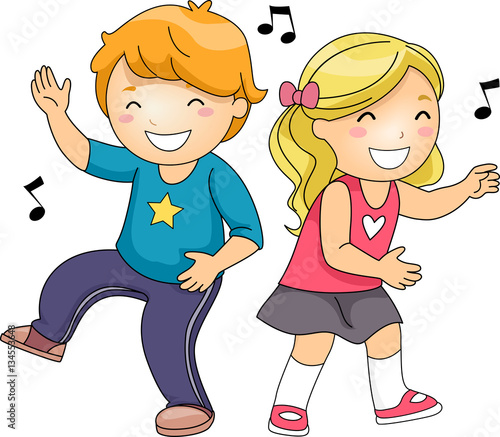 """""""Kids Freeze Dance Music Notes"""" Stock image and royalty ... Child Dancing Clipart"""