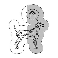 monochrome contour middle shadow sticker with dalmatian dog thinkin home vector illustration