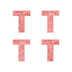 Alphabet letter T with red heart on Valentine's Day. Valentine`s Day Alphabet of Hearts. Love ABC