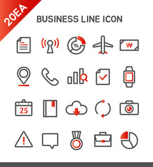 Vector business line icon set