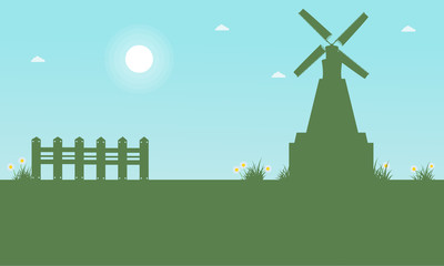 Poster Turquoise Silhouette of windmill beauty landscape at spring