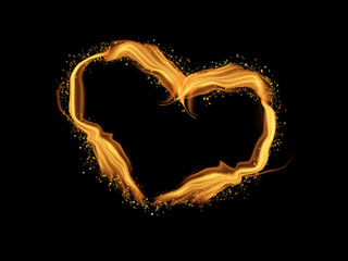 Heart shape made from fire flame light for Valentine's day isolated on black background.