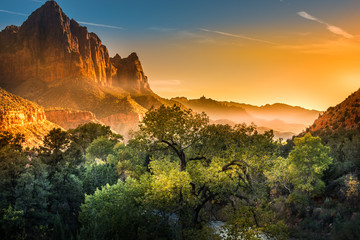 Poster Natuur Park Zion National Park Foggy Autumn Sunset