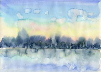 watercolor sunset landscape