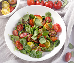 Fresh healthy salad with cherry tomatoes.