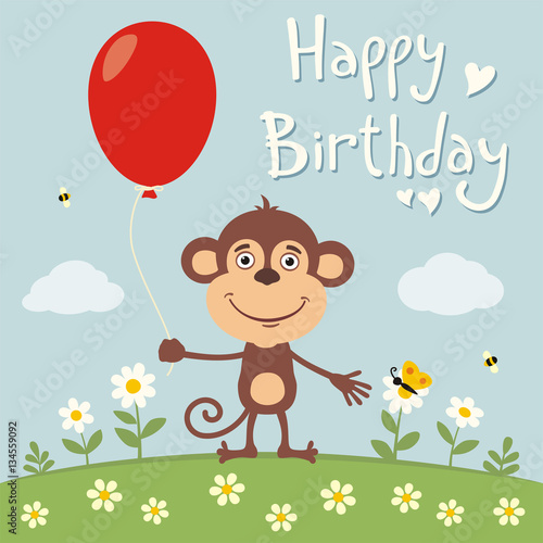 """Happy Birthday! Funny Monkey With Red Balloon On Flower Meadow. Birthday Card With Monkey In"