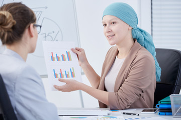 Woman after chemotherapy at work