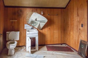 creepy scary abandoned bathroom