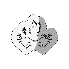 sticker silhouette pigeon with olive branch and label vector illustration